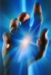 hand-blue-light